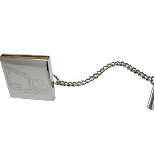 Silver Toned Etched Excavator Tie Tack